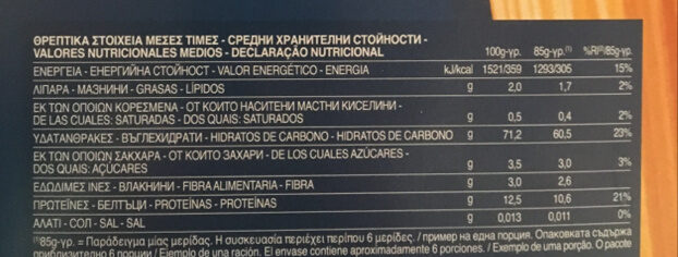 Penne rigate n.73 - Nutrition facts - en
