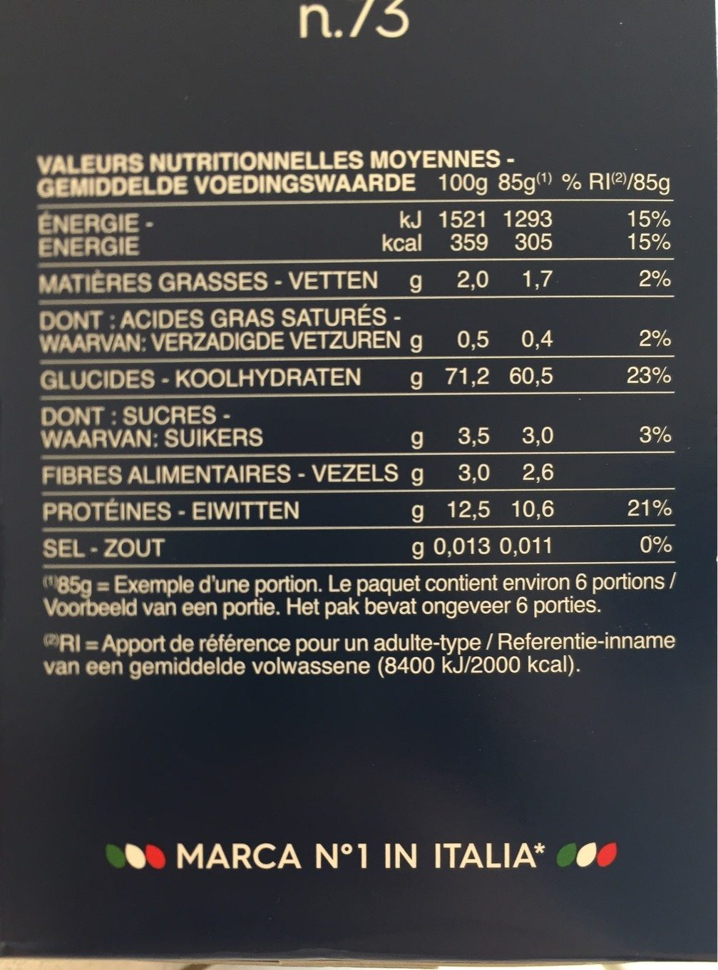 Pâtes - Penne Rigate n.73 - Nutrition facts