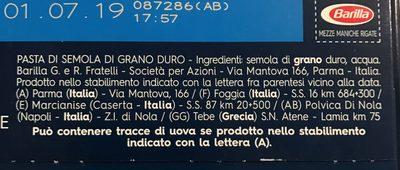 Mezze maniche rigate n - Ingredienti - it