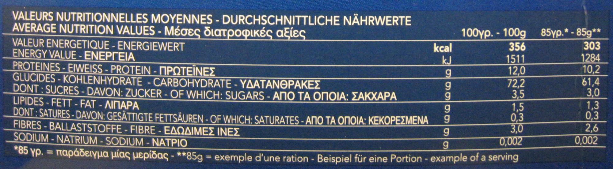 Pâtes Pipe Rigate - Nutrition facts - fr
