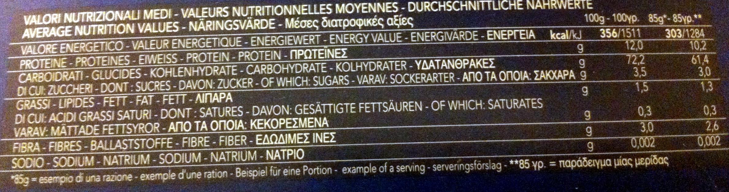 Sedani rigati - Informazioni nutrizionali