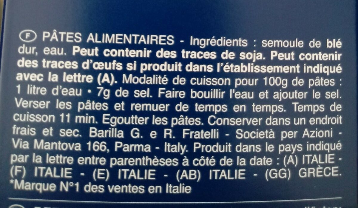 Pâtes Fusilli - Ingredients