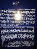 Pâtes Fusilli - Ingrediënten