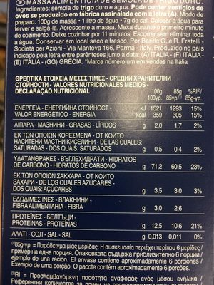 Fusili - Nutrition facts