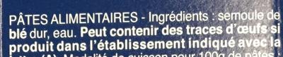 Pâtes Farfalline - Ingrédients