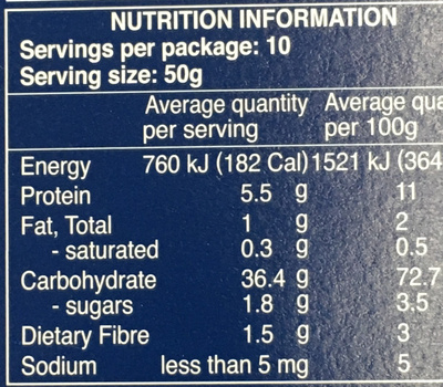 Pâtes Farfalline - Informations nutritionnelles