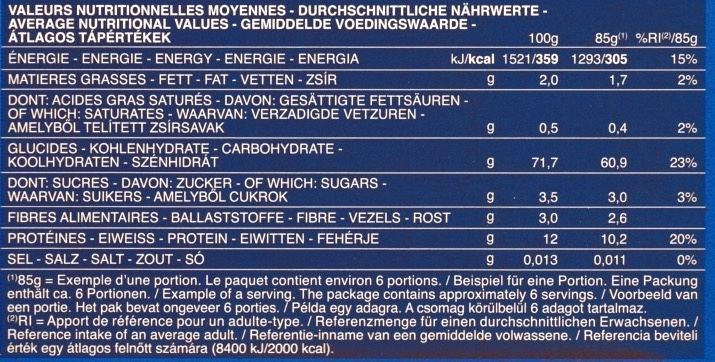 Maccheroni n. 44 - Nutrition facts