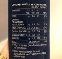 Pâtes Maccheroni - Informations nutritionnelles - fr