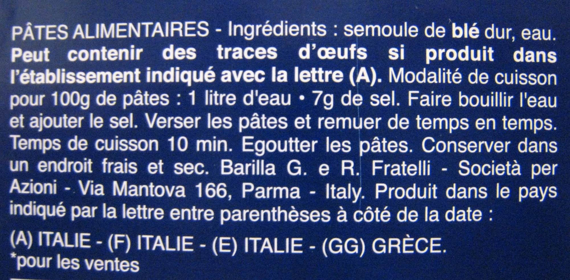 Farfalle n. 65 - Ingredients