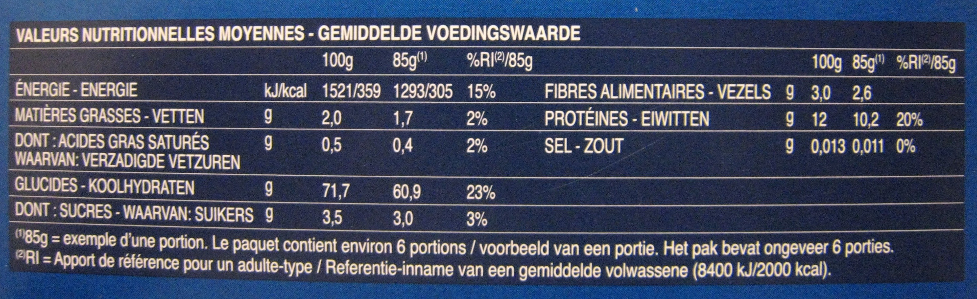 Farfalle n. 65 - Nutrition facts