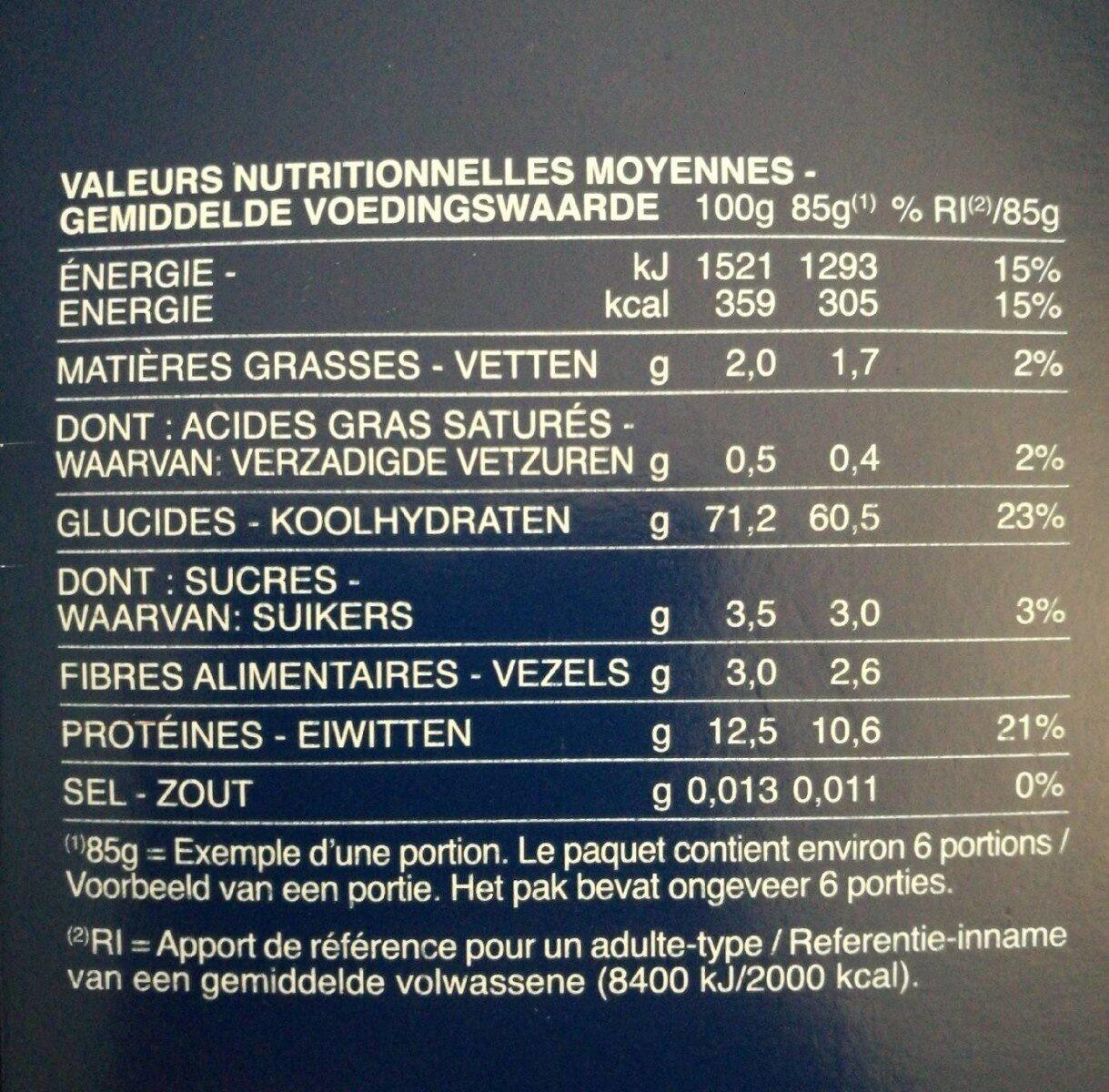 Farfalle - Valori nutrizionali - fr