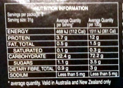 Pâtes Cannelloni - Informations nutritionnelles - fr