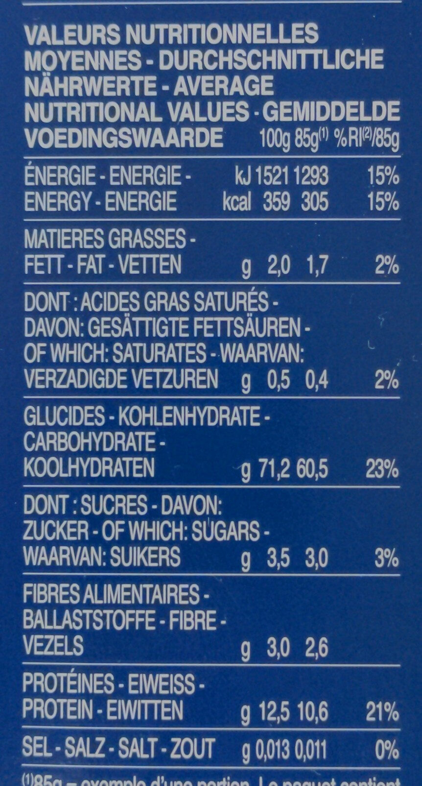 Barilla pates coquillettes - Nutrition facts - fr