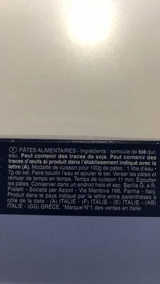 Pâtes Spaghettoni - Ingredients