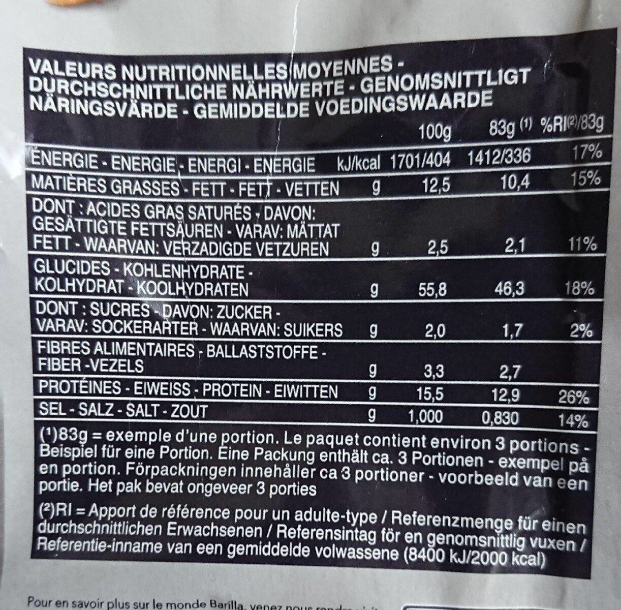 Pâtes Tortellini jambon fromage - Valori nutrizionali - fr