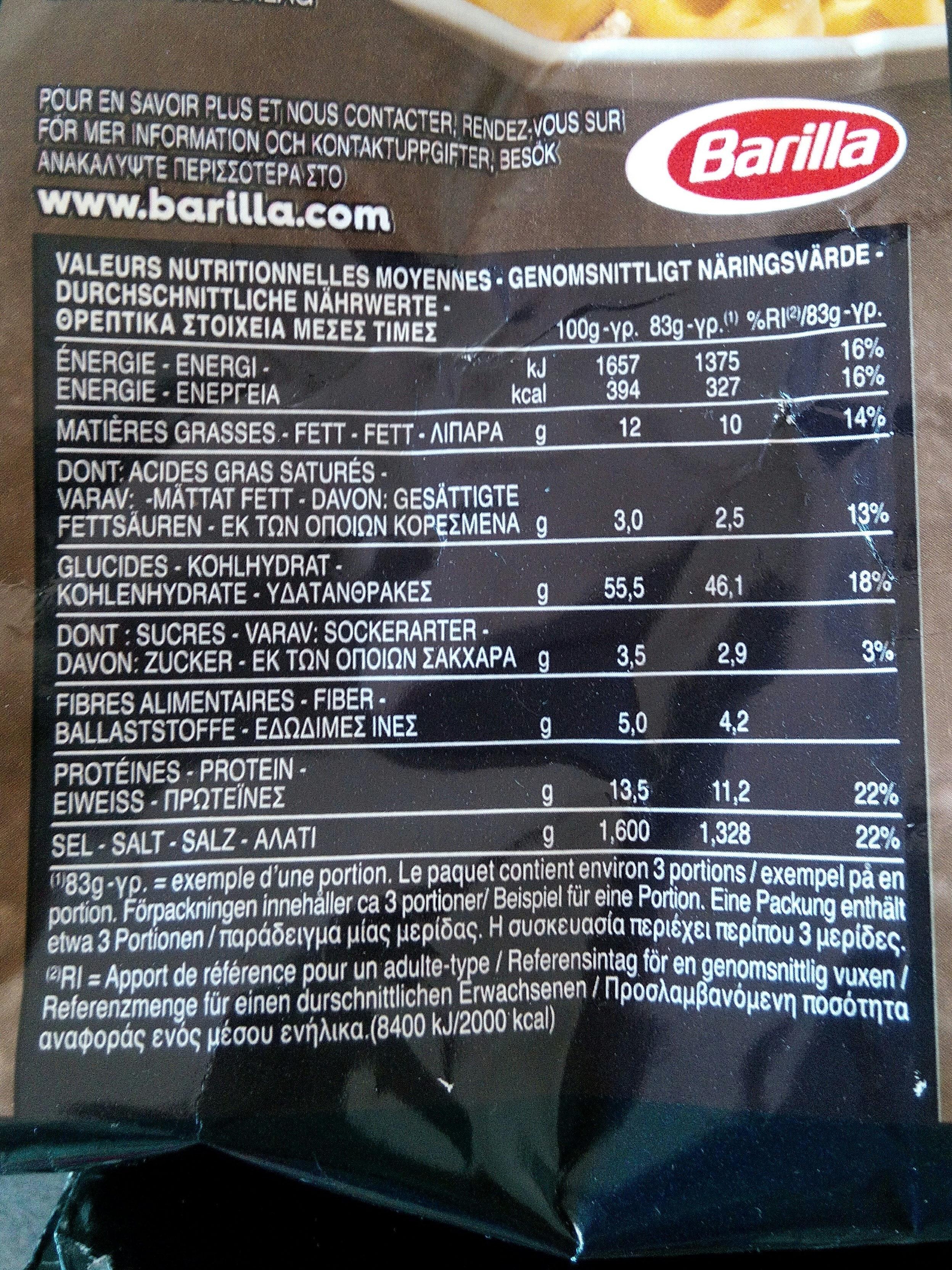Pâtes Tortellini aux fromages - Informations nutritionnelles - fr