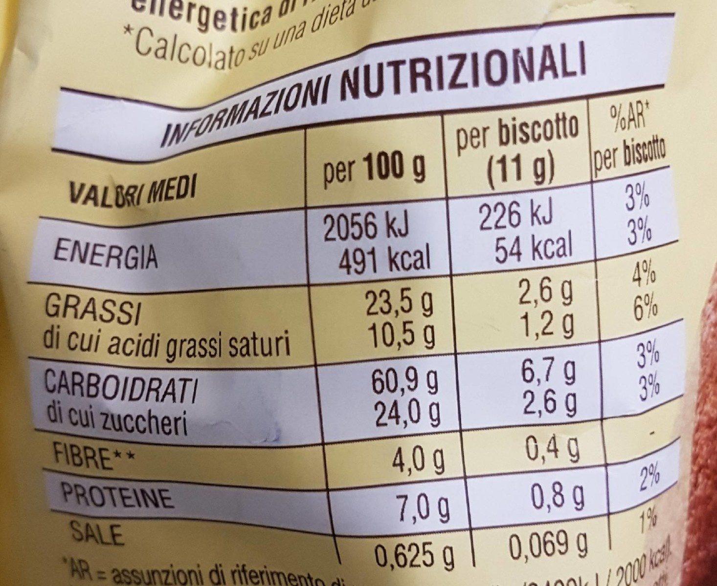 Abbracci fin cacao e panna fresca - Voedingswaarden - fr