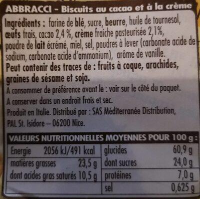 Abbracci - Voedingswaarden - fr