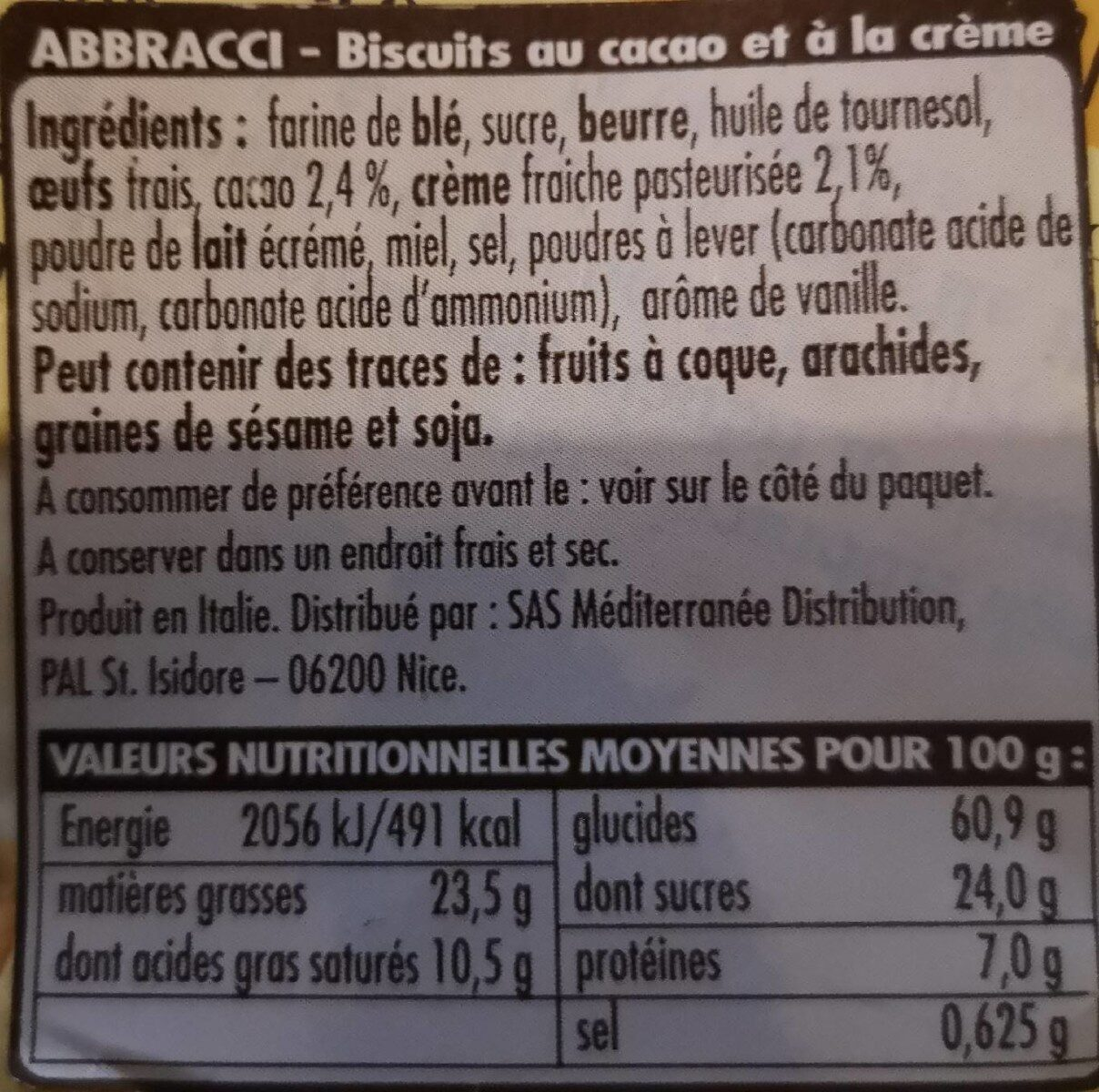 Abbracci - Nutrition facts - fr