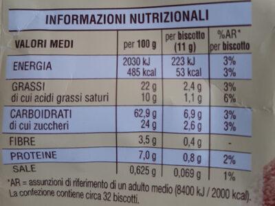 Abbracci con cacao e panna fresca - Informazioni nutrizionali - it