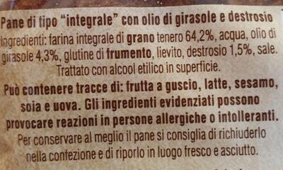 Pan bauletto integrale - Ingredientes