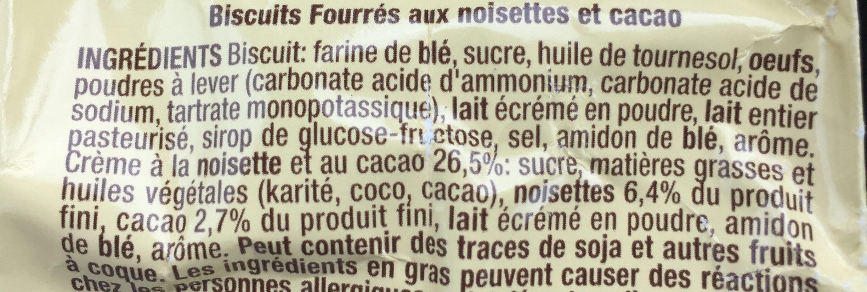 Biscuits fourrés aux noisettes et cacao - Ingrédients