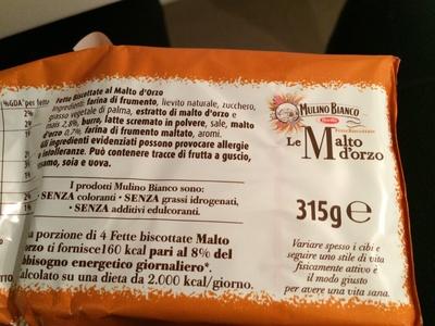 Fette Biscottate al Malto d'Orzo - Ingredienti - it