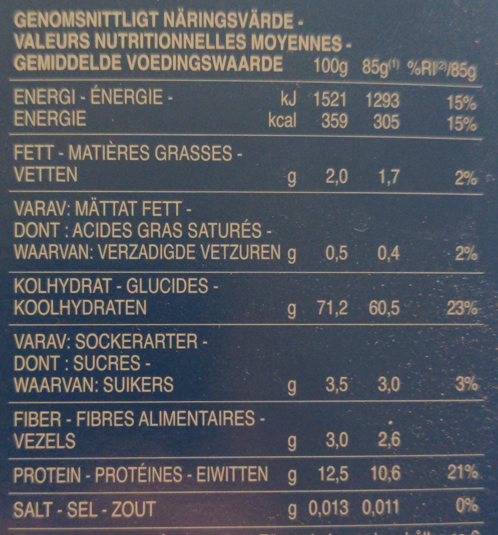 Girandole Torsades n. 34 - Informations nutritionnelles - fr