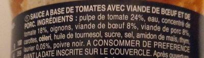 Sauce bolognaise - Inhaltsstoffe - fr