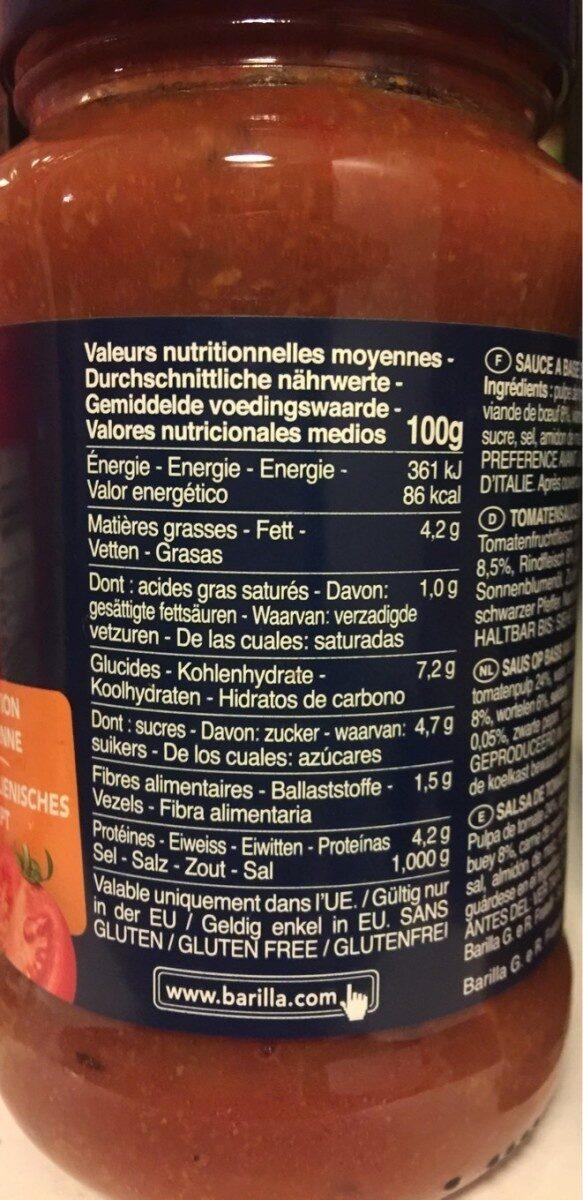 Sauce bolognaise - Nährwertangaben - fr