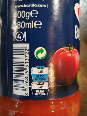Barilla sauce tomates basilic - Recycling instructions and/or packaging information - fr