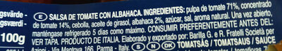 Basilico - Ingredientes