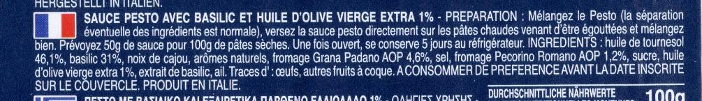 Pesto sauce with basil - Ingredienti