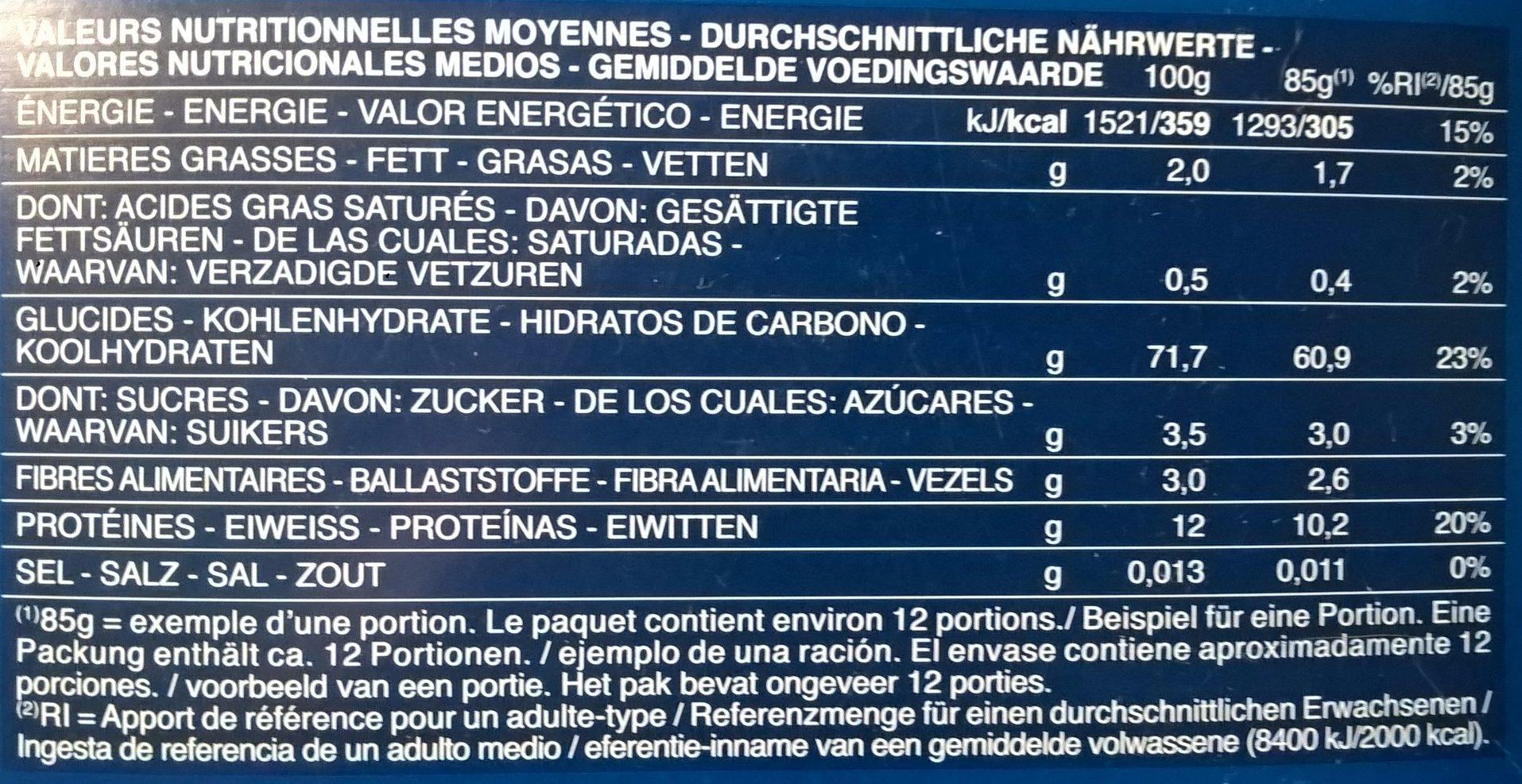 Pâtes Maccheroni - Nährwertangaben - fr