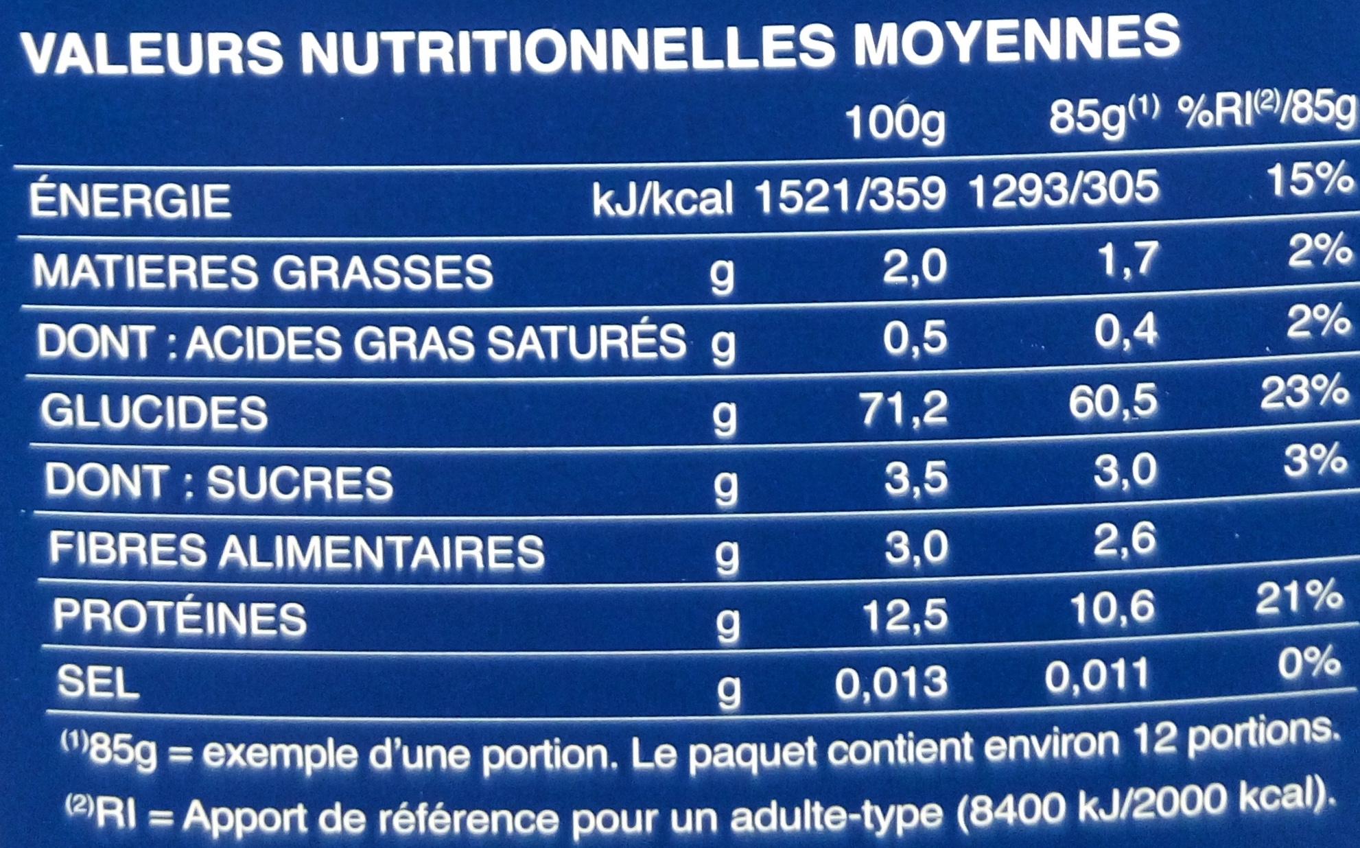 Pâtes Coquillettes - Voedigswaarden
