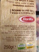 Barilla Emiliane Fettuccine All'uovo, 250G - Ingrédients