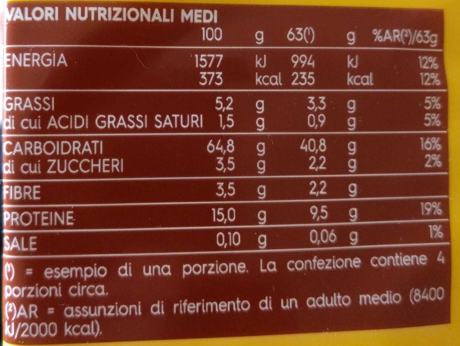 Barilla Emiliane Fettuccine All'uovo, 250G - Informations nutritionnelles