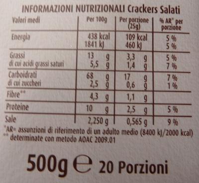 Sfoglia di Grano Cracker salati Barilla Mulino Bianco - Voedingswaarden