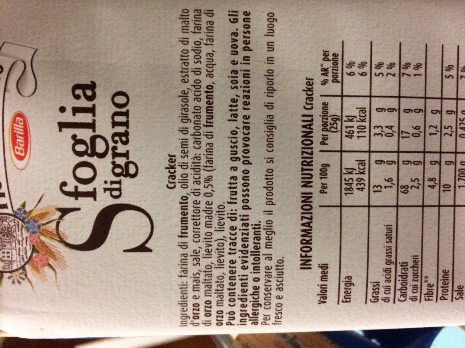 Sfoglia di grano - Ingredients - en