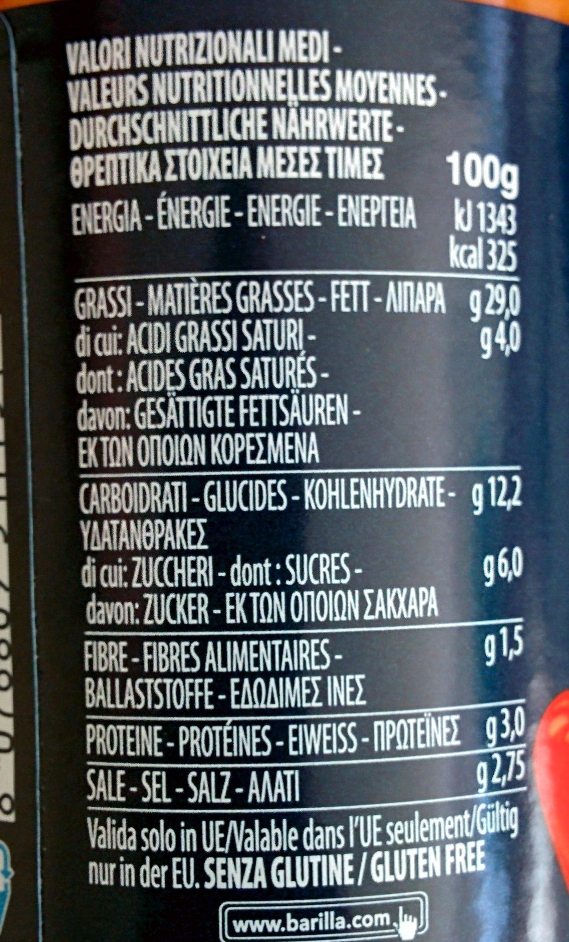 Pesto Alla Calabrese - Valori nutrizionali - de