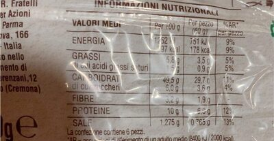Pagnottelle classiche - Informations nutritionnelles - fr