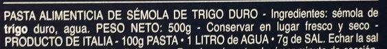 Pâtes Orecchiette - Ingredientes - es