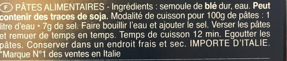 Pâtes Orecchiette - Ingrédients