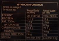 Pâtes Orecchiette - Información nutricional