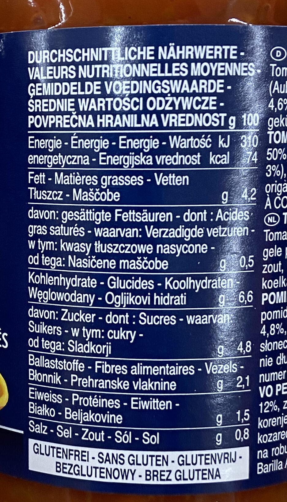Sauce courgette et légumes grillés - Nährwertangaben - de