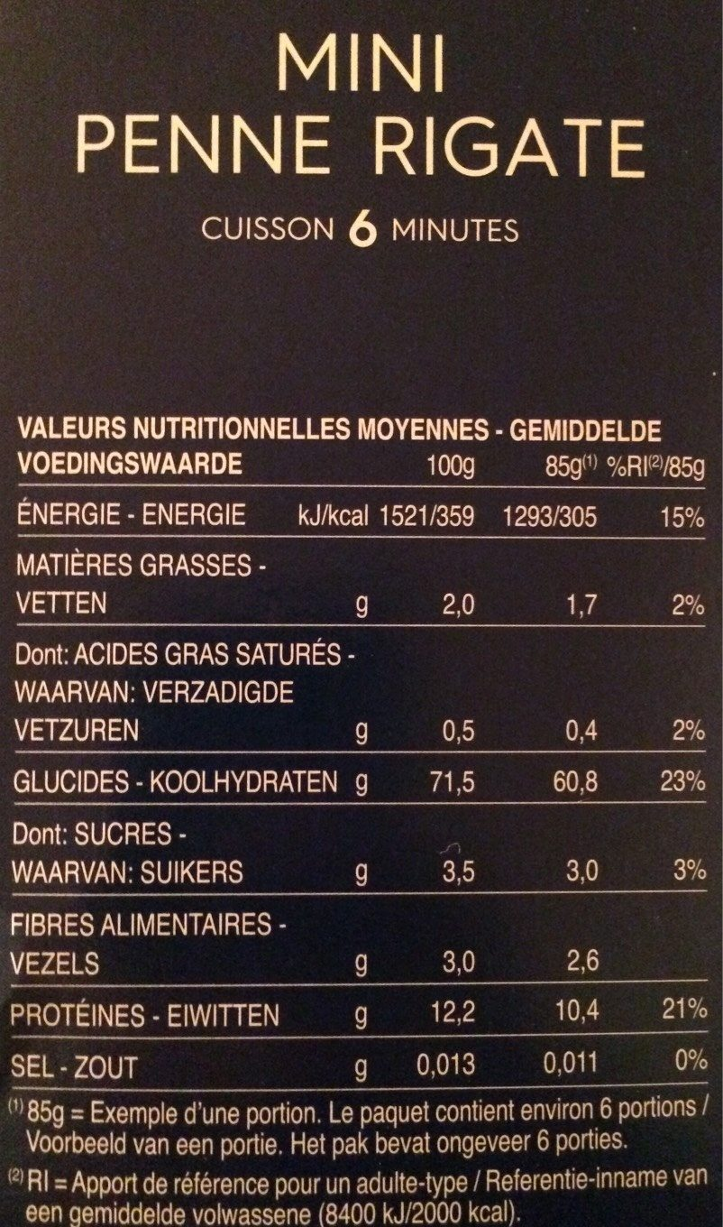 Pâtes Mini Penne Rigate - Nutrition facts - fr