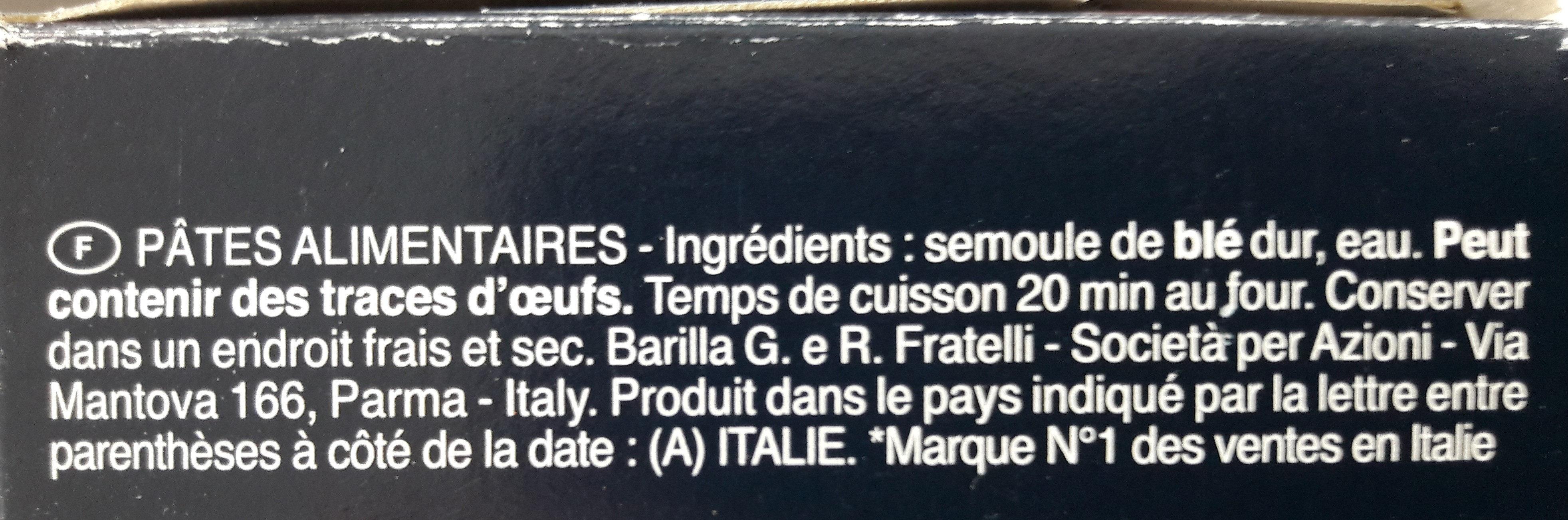 Pâtes Lasagne - Ingrédients