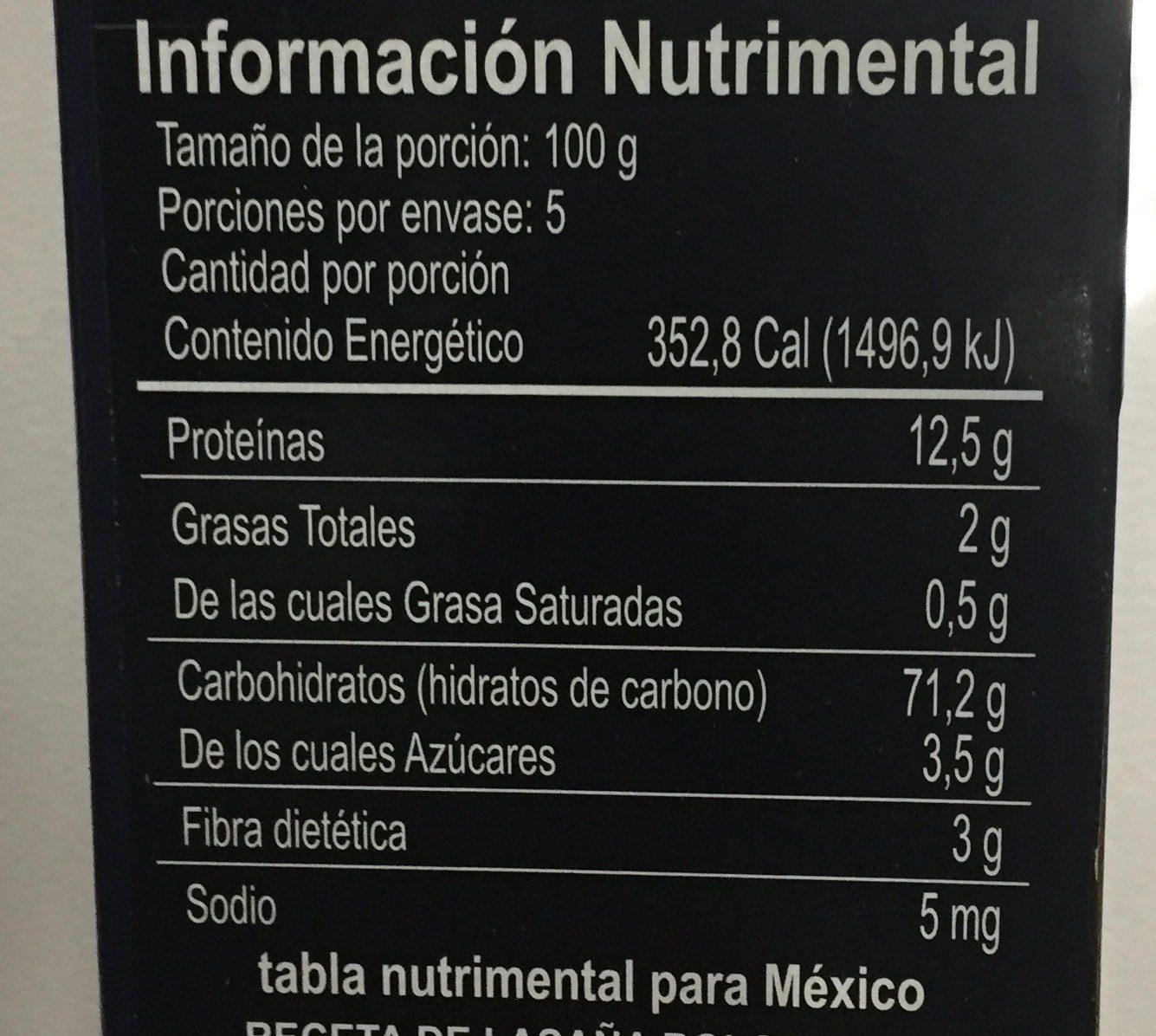 Collezione Lasagne Bolognesi - Informazioni nutrizionali - es