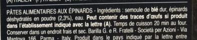 Pâtes Lasagne aux épinards - Ingredienti - fr