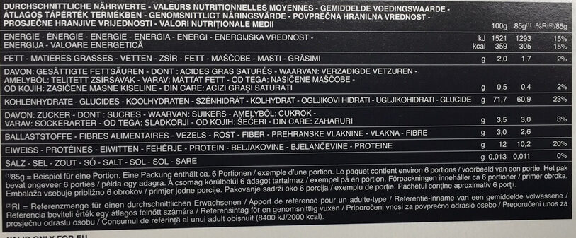 Pâtes Fettuccine - Valori nutrizionali - fr